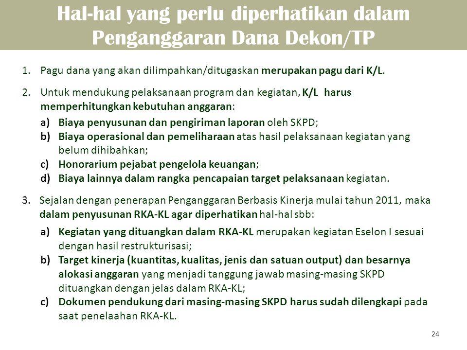 1.Pagu dana yang akan dilimpahkan/ditugaskan merupakan pagu dari K/L. 2.Untuk mendukung pelaksanaan program dan kegiatan, K/L harus memperhitungkan ke
