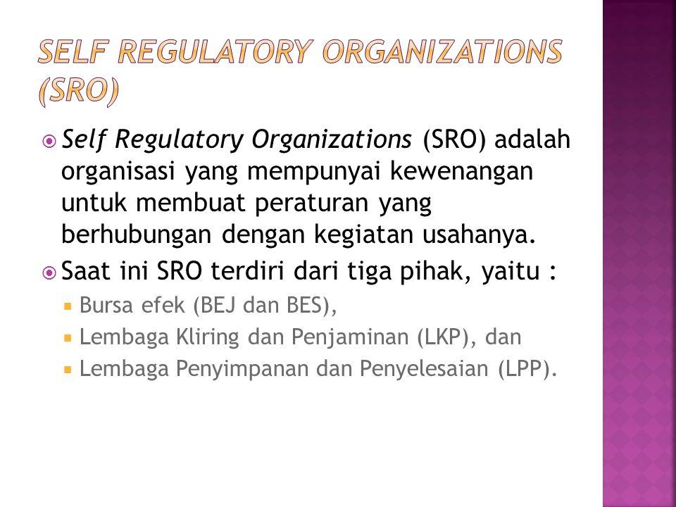  Self Regulatory Organizations (SRO) adalah organisasi yang mempunyai kewenangan untuk membuat peraturan yang berhubungan dengan kegiatan usahanya. 