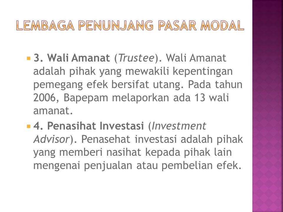  3. Wali Amanat (Trustee). Wali Amanat adalah pihak yang mewakili kepentingan pemegang efek bersifat utang. Pada tahun 2006, Bapepam melaporkan ada 1