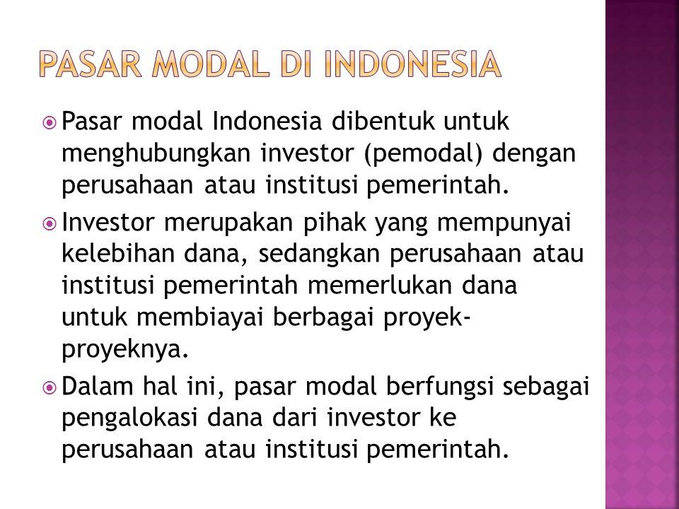  Pasar modal Indonesia dibentuk untuk menghubungkan investor (pemodal) dengan perusahaan atau institusi pemerintah.  Investor merupakan pihak yang m