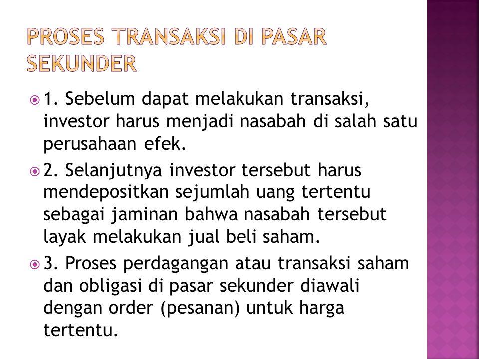  1. Sebelum dapat melakukan transaksi, investor harus menjadi nasabah di salah satu perusahaan efek.  2. Selanjutnya investor tersebut harus mendepo