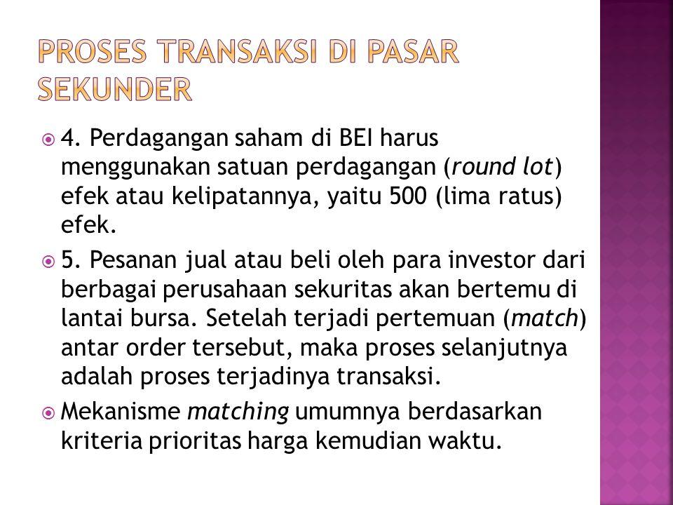  4. Perdagangan saham di BEI harus menggunakan satuan perdagangan (round lot) efek atau kelipatannya, yaitu 500 (lima ratus) efek.  5. Pesanan jual