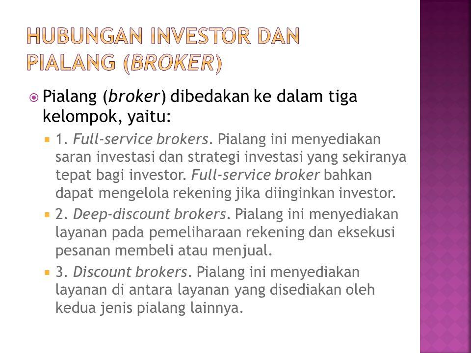  Pialang (broker) dibedakan ke dalam tiga kelompok, yaitu:  1. Full-service brokers. Pialang ini menyediakan saran investasi dan strategi investasi