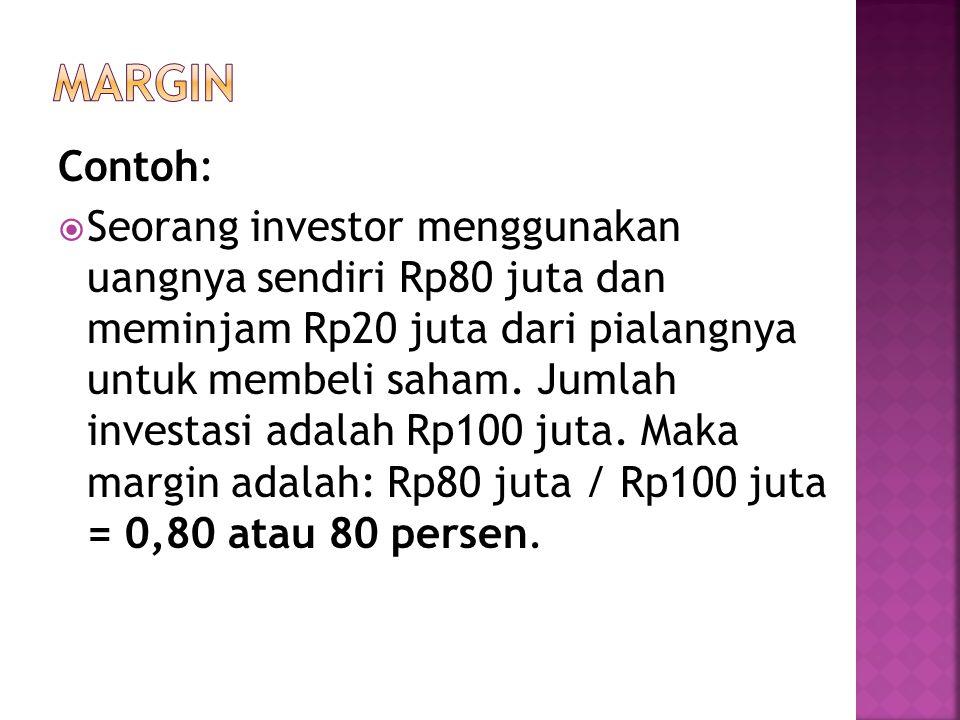 Contoh:  Seorang investor menggunakan uangnya sendiri Rp80 juta dan meminjam Rp20 juta dari pialangnya untuk membeli saham. Jumlah investasi adalah R
