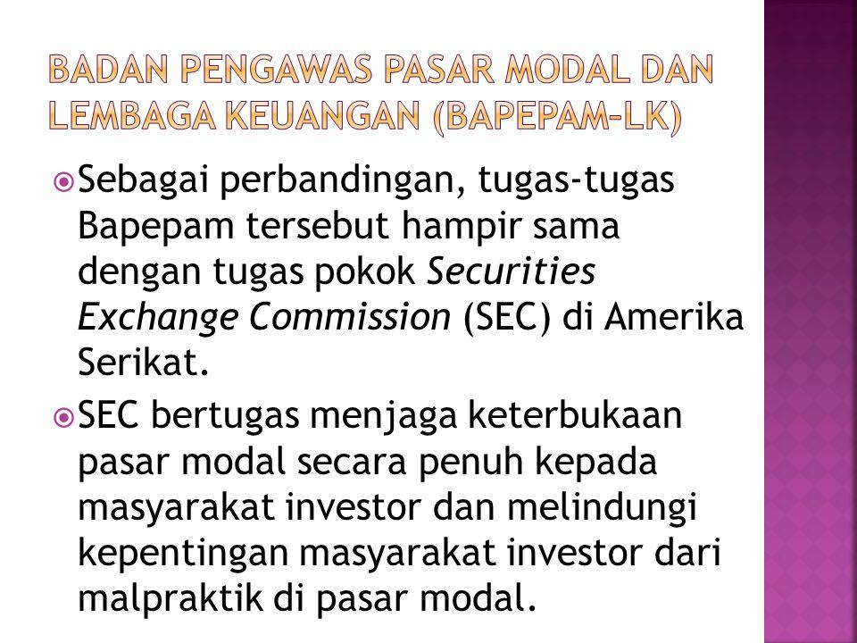  Sebagai perbandingan, tugas-tugas Bapepam tersebut hampir sama dengan tugas pokok Securities Exchange Commission (SEC) di Amerika Serikat.  SEC ber