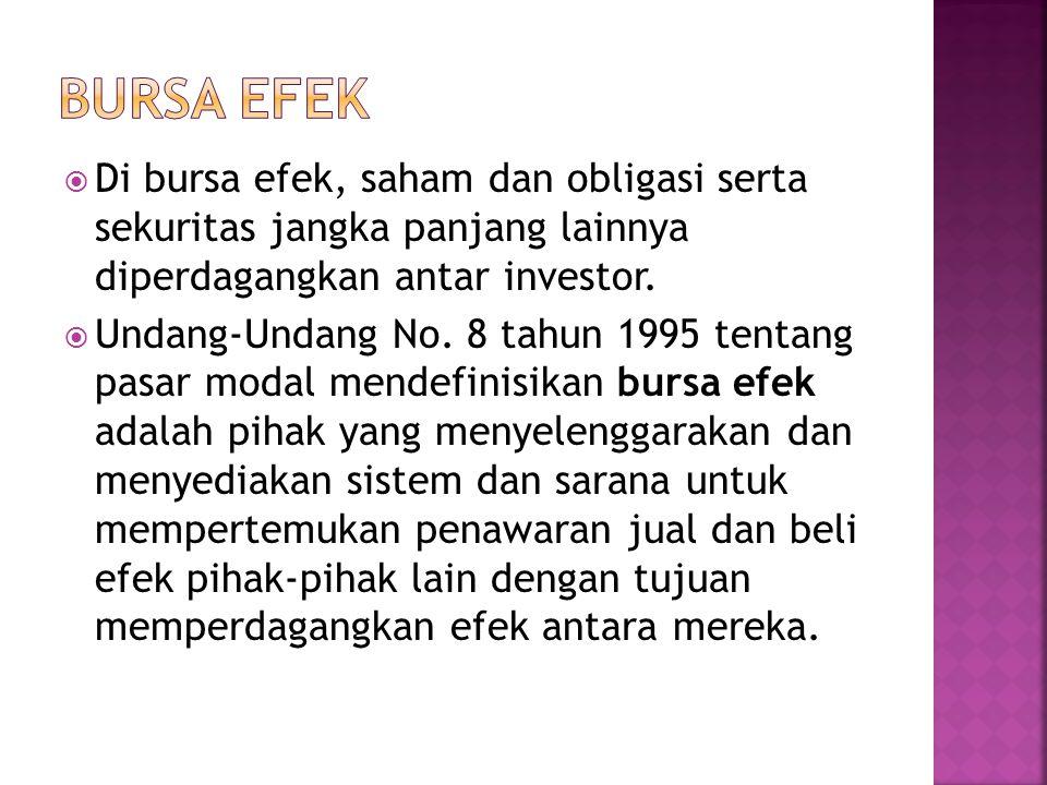  Bursa efek dapat membentuk aliansi dengan bursa lain untuk meningkatkan efisiensi dan likuiditasnya.