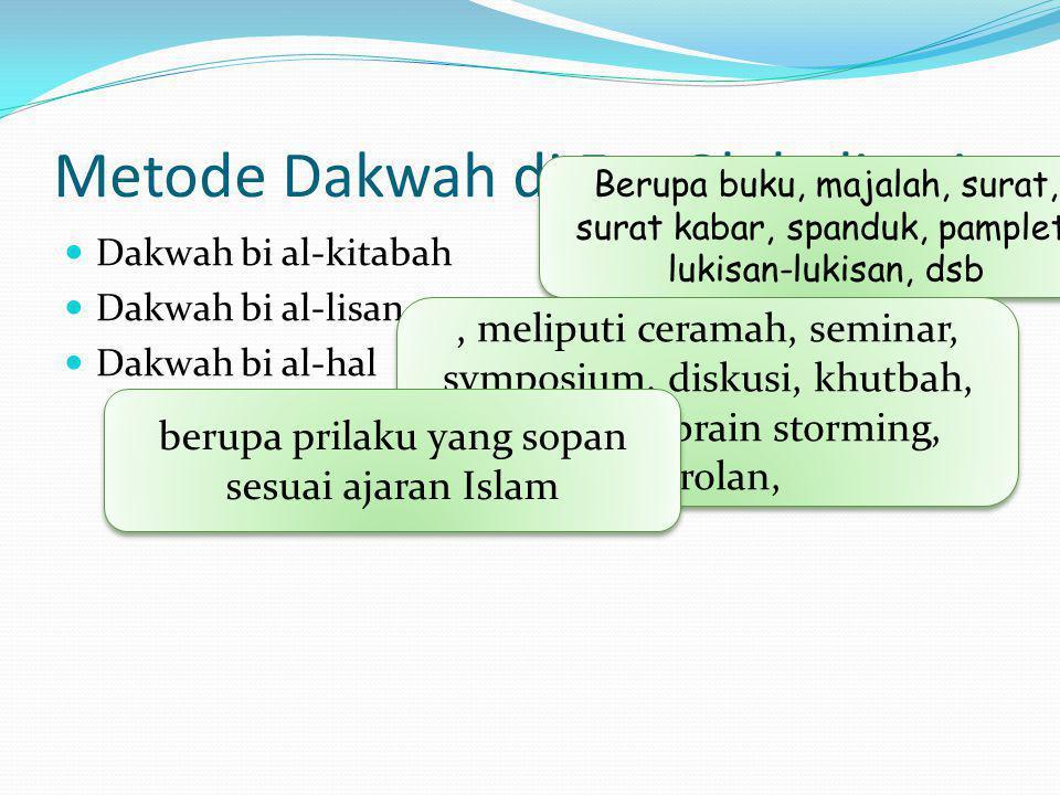 Metode Dakwah di Era Globalisasi  Dakwah bi al-kitabah  Dakwah bi al-lisan,  Dakwah bi al-hal Berupa buku, majalah, surat, surat kabar, spanduk, pamplet, lukisan-lukisan, dsb, meliputi ceramah, seminar, symposium, diskusi, khutbah, saresehan, brain storming, obrolan, berupa prilaku yang sopan sesuai ajaran Islam