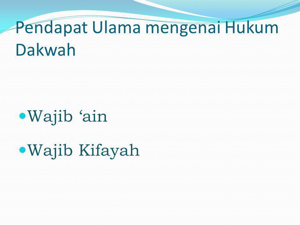 Pendapat Ulama mengenai Hukum Dakwah  Wajib 'ain  Wajib Kifayah