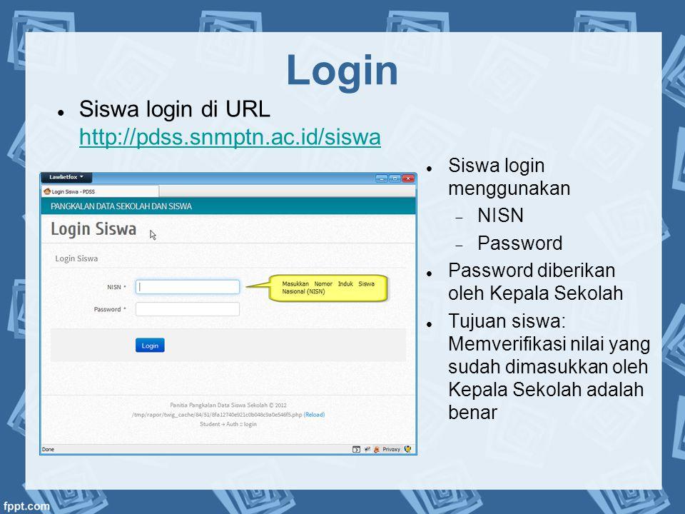 Login  Siswa login menggunakan  NISN  Password  Password diberikan oleh Kepala Sekolah  Tujuan siswa: Memverifikasi nilai yang sudah dimasukkan o