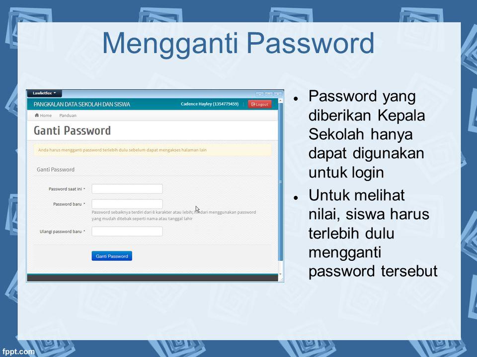 Mengganti Password  Password yang diberikan Kepala Sekolah hanya dapat digunakan untuk login  Untuk melihat nilai, siswa harus terlebih dulu menggan
