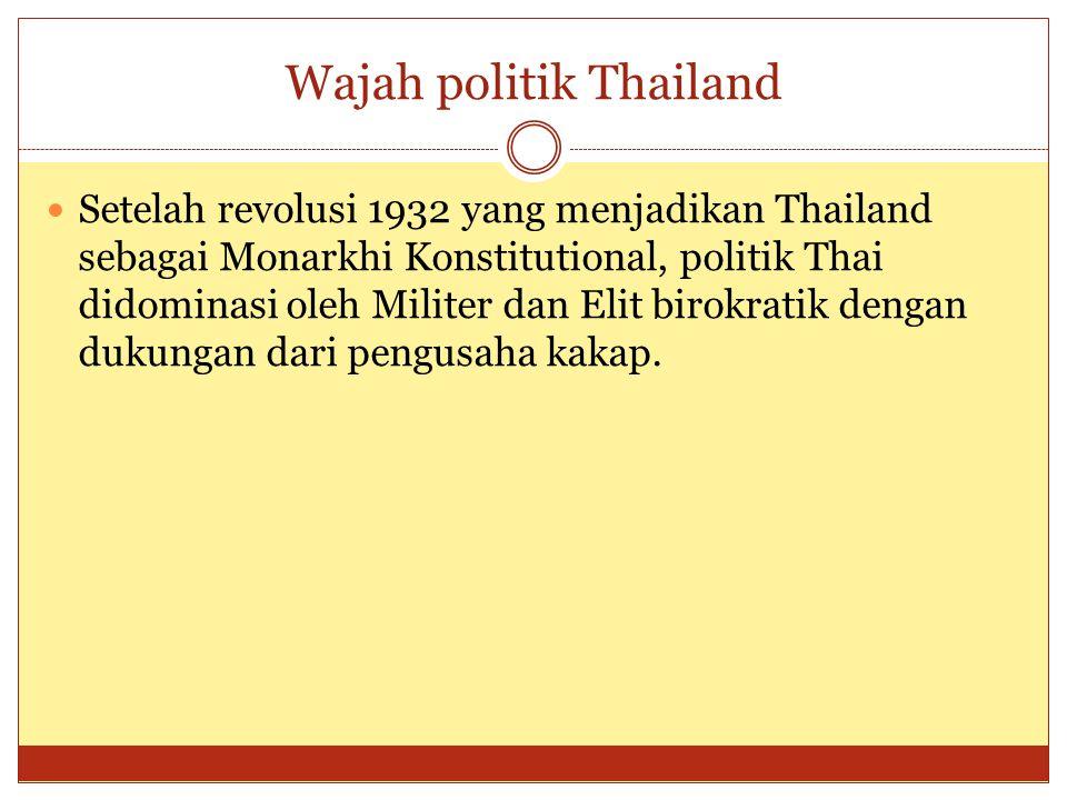 Wajah politik Thailand  Setelah revolusi 1932 yang menjadikan Thailand sebagai Monarkhi Konstitutional, politik Thai didominasi oleh Militer dan Elit birokratik dengan dukungan dari pengusaha kakap.