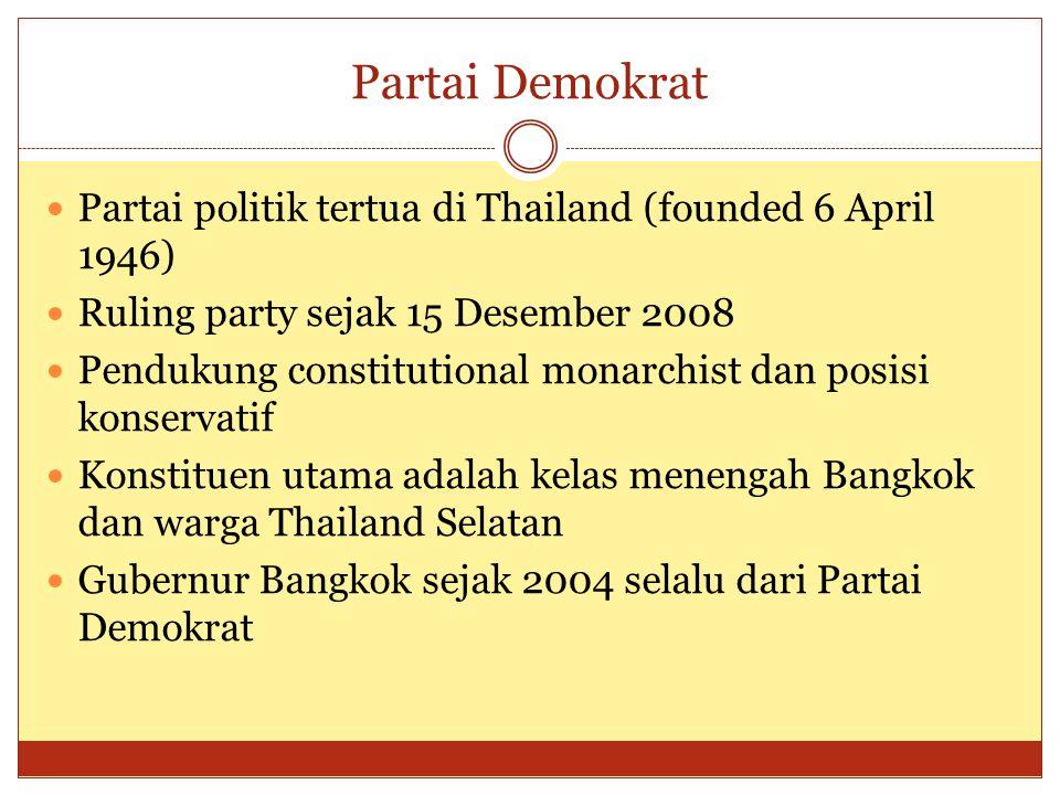 Partai Demokrat  Partai politik tertua di Thailand (founded 6 April 1946)  Ruling party sejak 15 Desember 2008  Pendukung constitutional monarchist dan posisi konservatif  Konstituen utama adalah kelas menengah Bangkok dan warga Thailand Selatan  Gubernur Bangkok sejak 2004 selalu dari Partai Demokrat