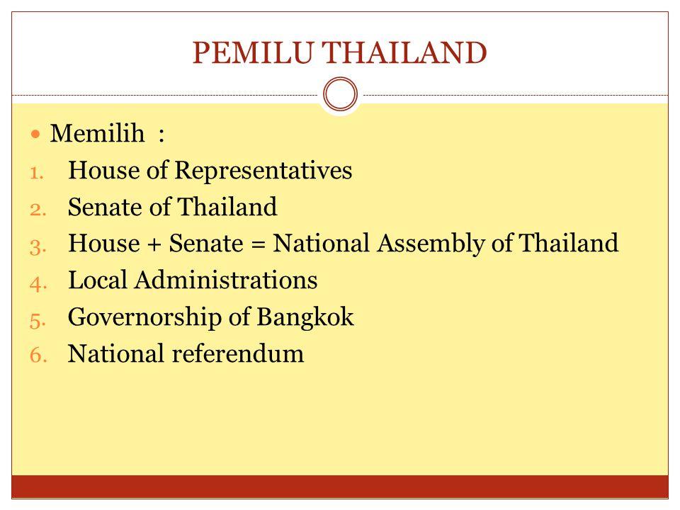 PEMILU THAILAND  Memilih : 1.House of Representatives 2.