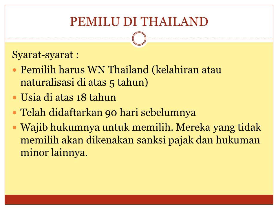 PEMILU DI THAILAND Syarat-syarat :  Pemilih harus WN Thailand (kelahiran atau naturalisasi di atas 5 tahun)  Usia di atas 18 tahun  Telah didaftarkan 90 hari sebelumnya  Wajib hukumnya untuk memilih.