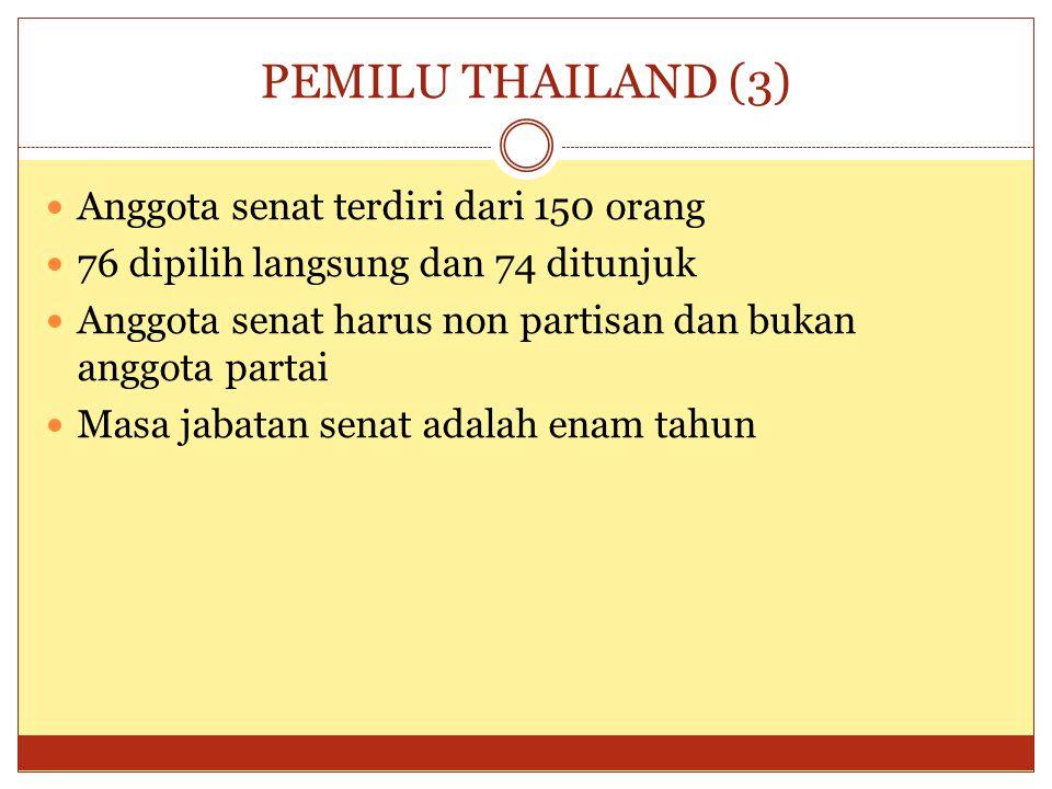 PEMILU THAILAND (3)  Anggota senat terdiri dari 150 orang  76 dipilih langsung dan 74 ditunjuk  Anggota senat harus non partisan dan bukan anggota partai  Masa jabatan senat adalah enam tahun