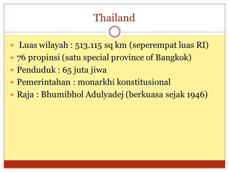 Thailand  Luas wilayah : 513.115 sq km (seperempat luas RI)  76 propinsi (satu special province of Bangkok)  Penduduk : 65 juta jiwa  Pemerintahan : monarkhi konstitusional  Raja : Bhumibhol Adulyadej (berkuasa sejak 1946)