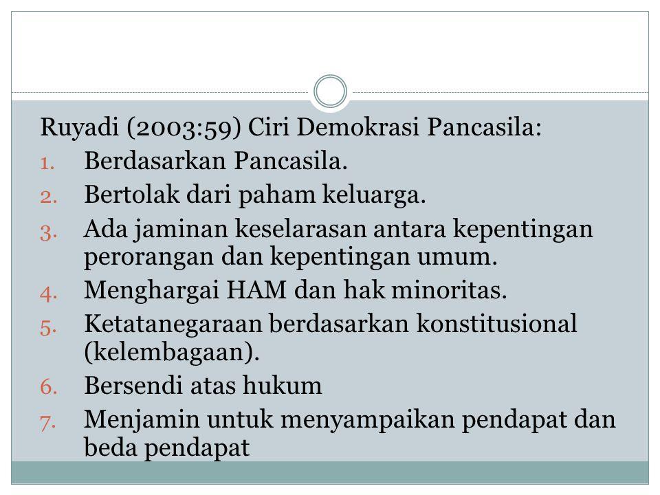 Ruyadi (2003:59) Ciri Demokrasi Pancasila: 1. Berdasarkan Pancasila. 2. Bertolak dari paham keluarga. 3. Ada jaminan keselarasan antara kepentingan pe