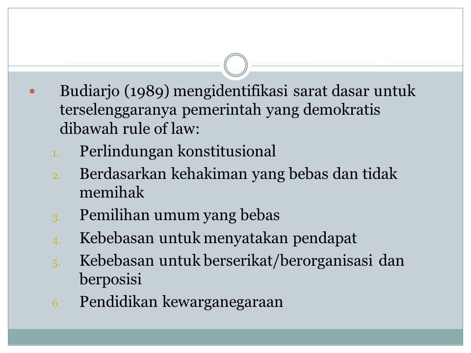 BBudiarjo (1989) mengidentifikasi sarat dasar untuk terselenggaranya pemerintah yang demokratis dibawah rule of law: 1. Perlindungan konstitusional
