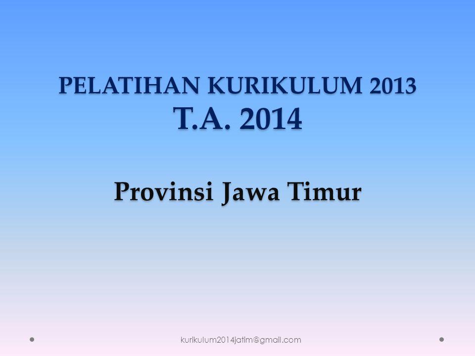 PELATIHAN KURIKULUM 2013 T.A. 2014 Provinsi Jawa Timur kurikulum2014jatim@gmail.com