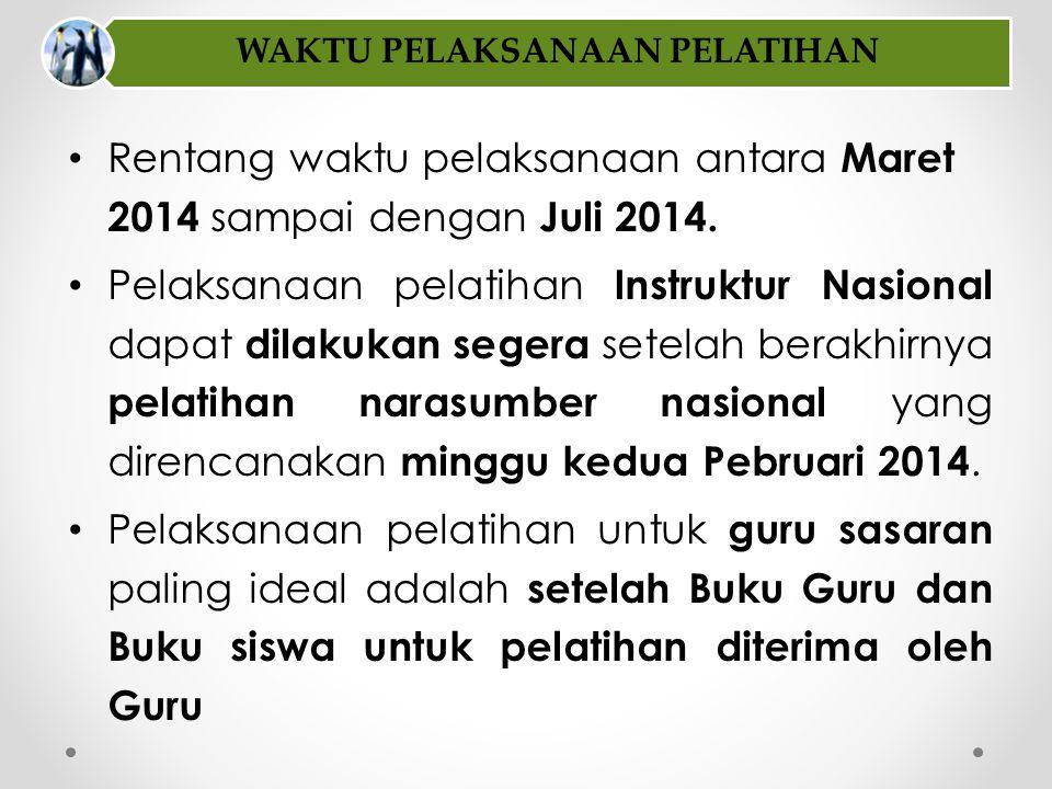 • Rentang waktu pelaksanaan antara Maret 2014 sampai dengan Juli 2014. • Pelaksanaan pelatihan Instruktur Nasional dapat dilakukan segera setelah bera