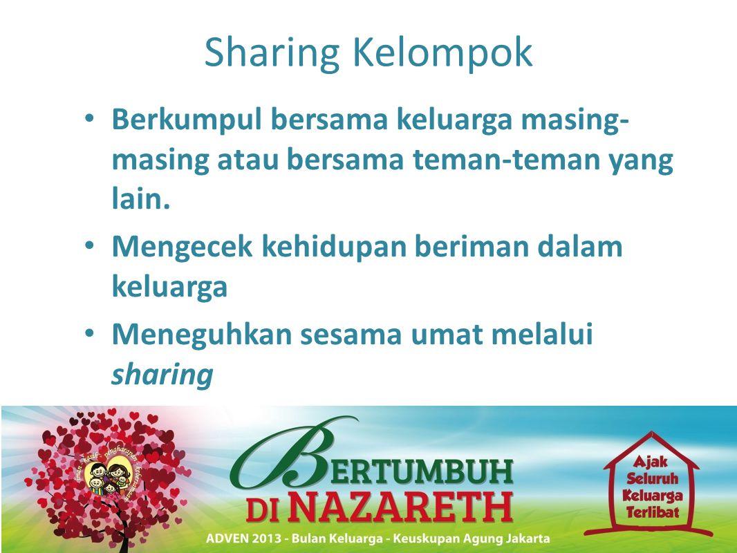 Sharing Kelompok • Berkumpul bersama keluarga masing- masing atau bersama teman-teman yang lain. • Mengecek kehidupan beriman dalam keluarga • Meneguh