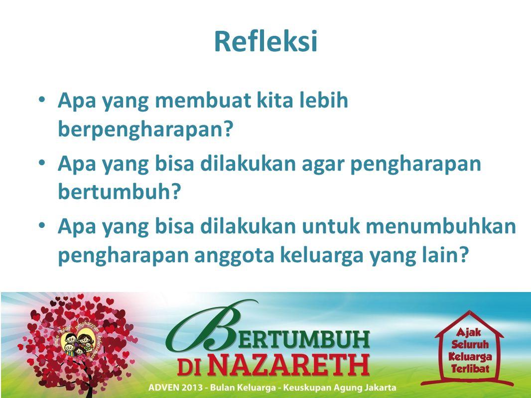 Refleksi • Apa yang membuat kita lebih berpengharapan? • Apa yang bisa dilakukan agar pengharapan bertumbuh? • Apa yang bisa dilakukan untuk menumbuhk