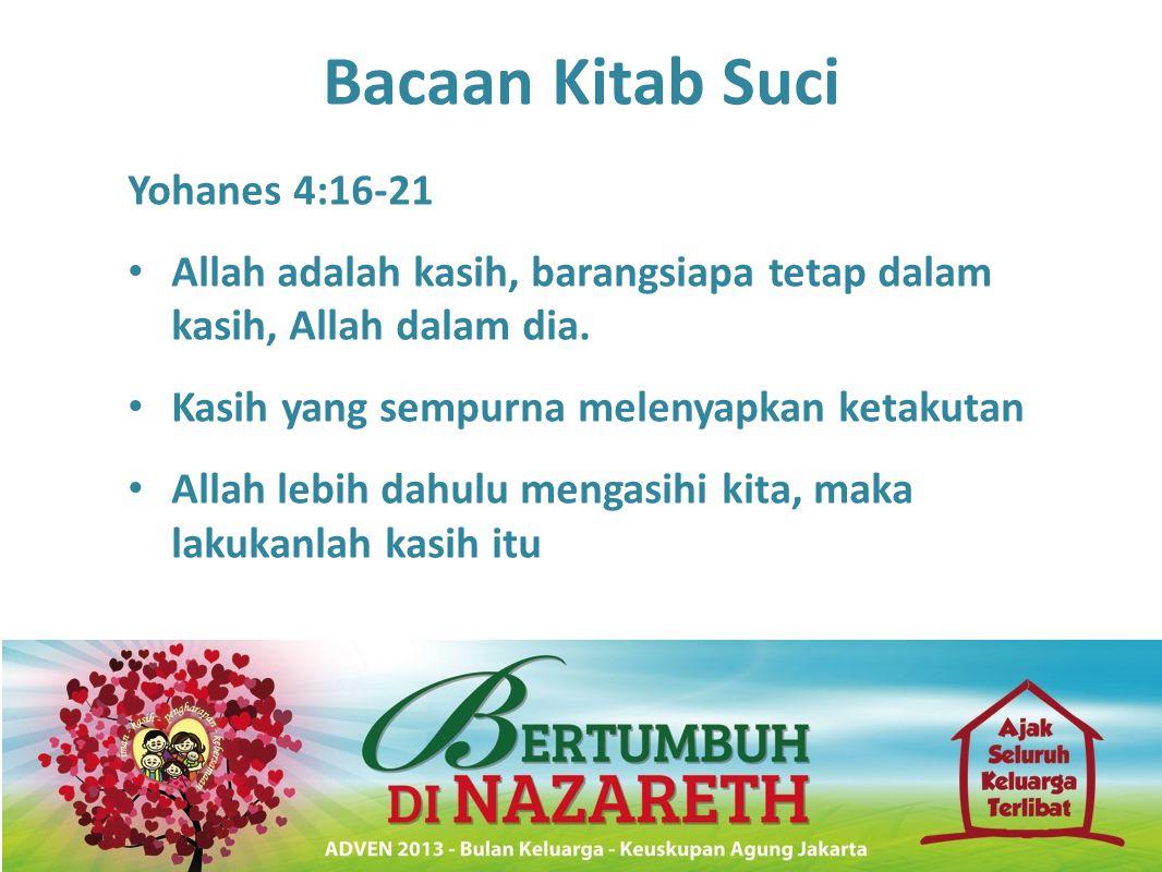 Bacaan Kitab Suci Yohanes 4:16-21 • Allah adalah kasih, barangsiapa tetap dalam kasih, Allah dalam dia. • Kasih yang sempurna melenyapkan ketakutan •