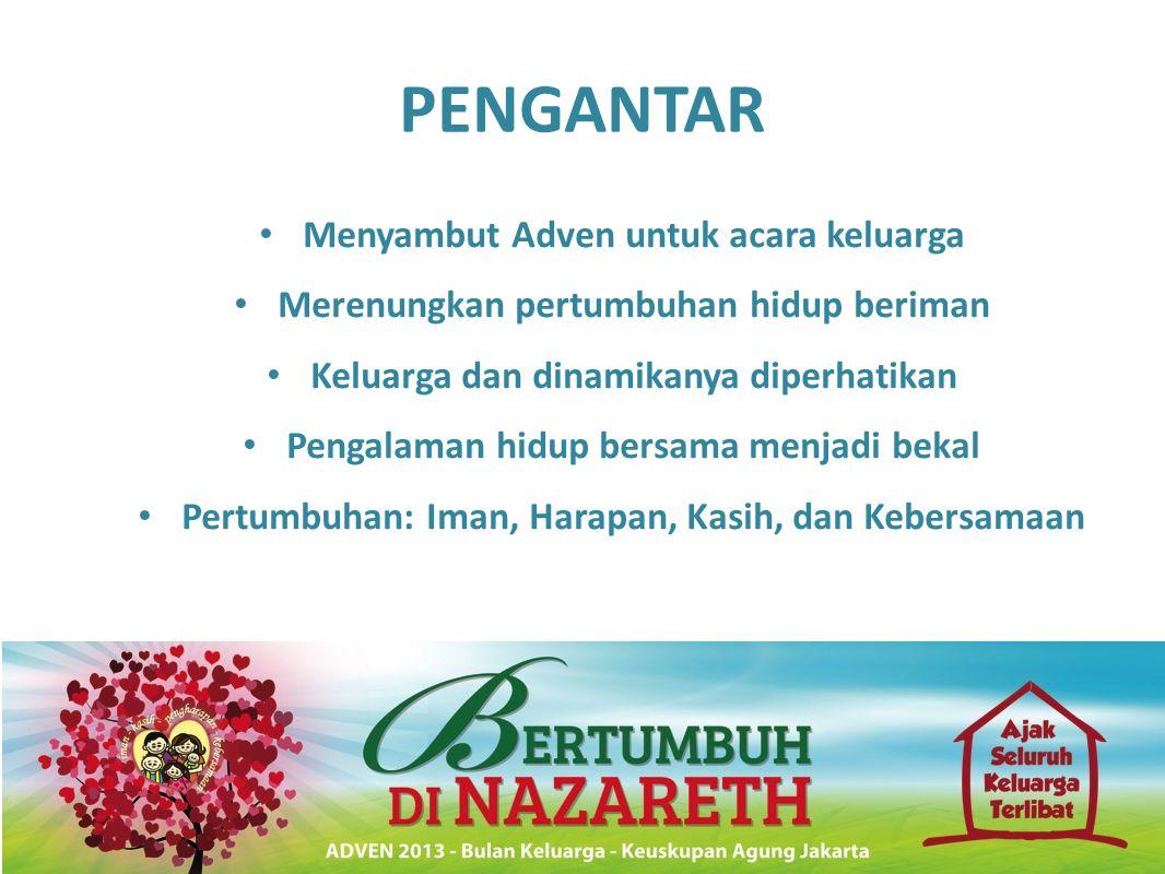 PENGANTAR • Menyambut Adven untuk acara keluarga • Merenungkan pertumbuhan hidup beriman • Keluarga dan dinamikanya diperhatikan • Pengalaman hidup be