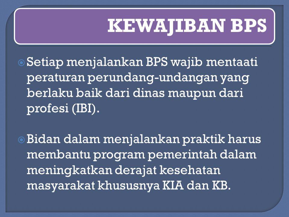 KEWAJIBAN BPS  Setiap menjalankan BPS wajib mentaati peraturan perundang-undangan yang berlaku baik dari dinas maupun dari profesi (IBI).  Bidan dal