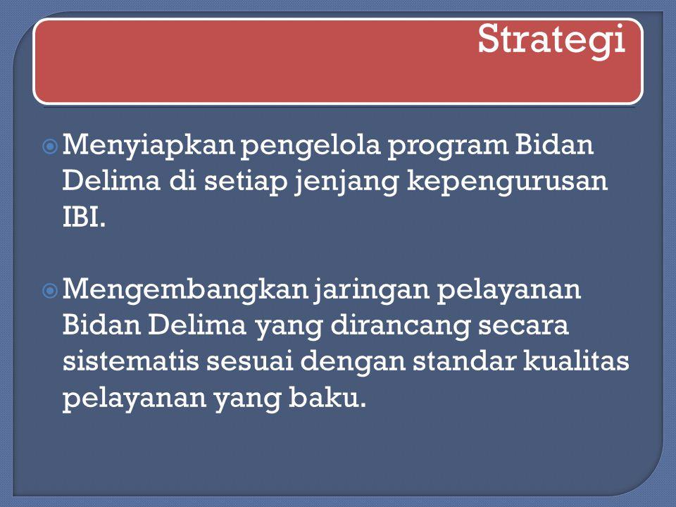 Strategi  Menyiapkan pengelola program Bidan Delima di setiap jenjang kepengurusan IBI.  Mengembangkan jaringan pelayanan Bidan Delima yang dirancan