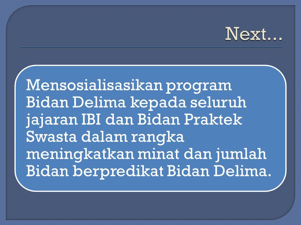 Mensosialisasikan program Bidan Delima kepada seluruh jajaran IBI dan Bidan Praktek Swasta dalam rangka meningkatkan minat dan jumlah Bidan berpredika