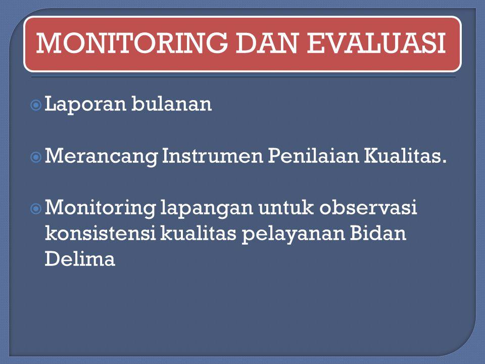 MONITORING DAN EVALUASI  Laporan bulanan  Merancang Instrumen Penilaian Kualitas.  Monitoring lapangan untuk observasi konsistensi kualitas pelayan