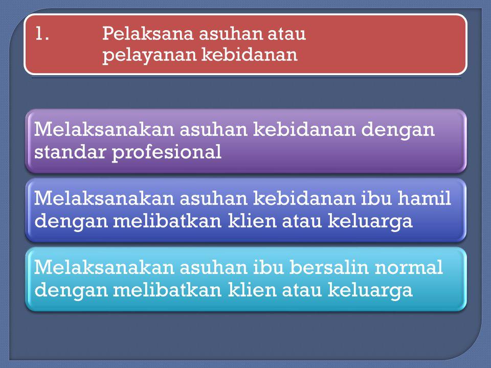 1.Pelaksana asuhan atau pelayanan kebidanan Melaksanakan asuhan kebidanan dengan standar profesional Melaksanakan asuhan kebidanan ibu hamil dengan me