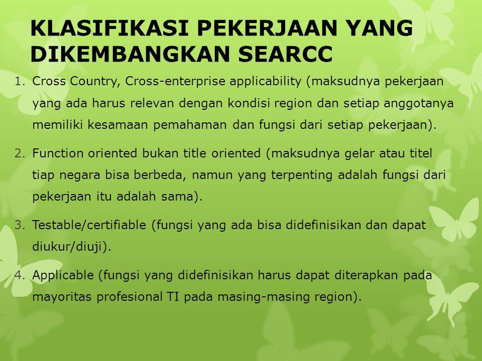 KLASIFIKASI PEKERJAAN YANG DIKEMBANGKAN SEARCC 1.Cross Country, Cross-enterprise applicability (maksudnya pekerjaan yang ada harus relevan dengan kond