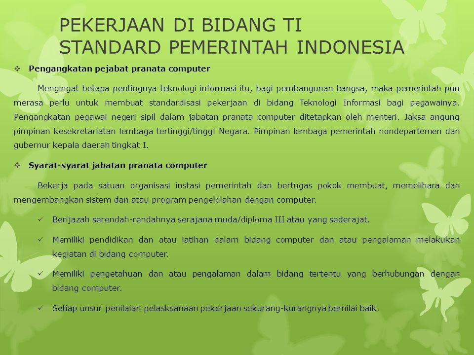 PEKERJAAN DI BIDANG TI STANDARD PEMERINTAH INDONESIA  Pengangkatan pejabat pranata computer Mengingat betapa pentingnya teknologi informasi itu, bagi
