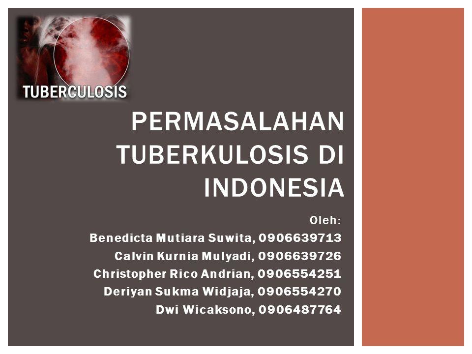 Oleh: Benedicta Mutiara Suwita, 0906639713 Calvin Kurnia Mulyadi, 0906639726 Christopher Rico Andrian, 0906554251 Deriyan Sukma Widjaja, 0906554270 Dwi Wicaksono, 0906487764 PERMASALAHAN TUBERKULOSIS DI INDONESIA