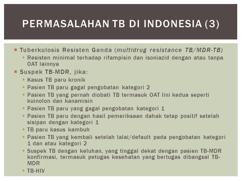  Tuberkulosis Resisten Ganda (multidrug resistance TB/MDR-TB)  Resisten minimal terhadap rifampisin dan isoniazid dengan atau tanpa OAT lainnya  Su