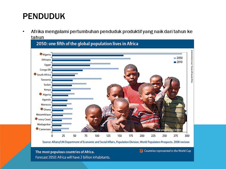 PENDUDUK • Afrika mengalami pertumbuhan penduduk produktif yang naik dari tahun ke tahun