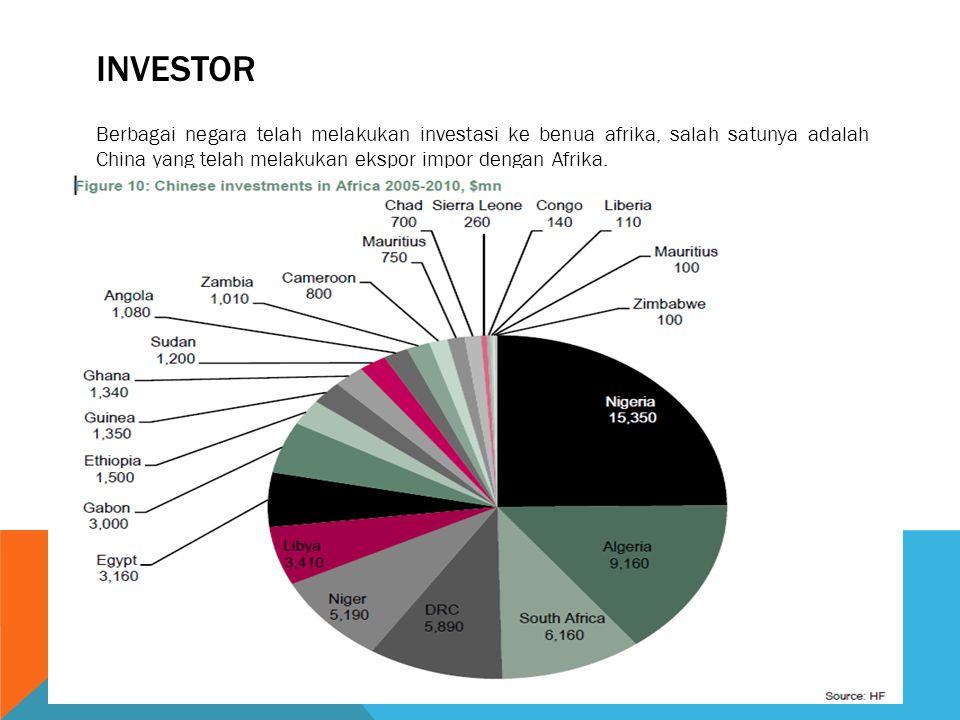 INVESTOR Berbagai negara telah melakukan investasi ke benua afrika, salah satunya adalah China yang telah melakukan ekspor impor dengan Afrika.
