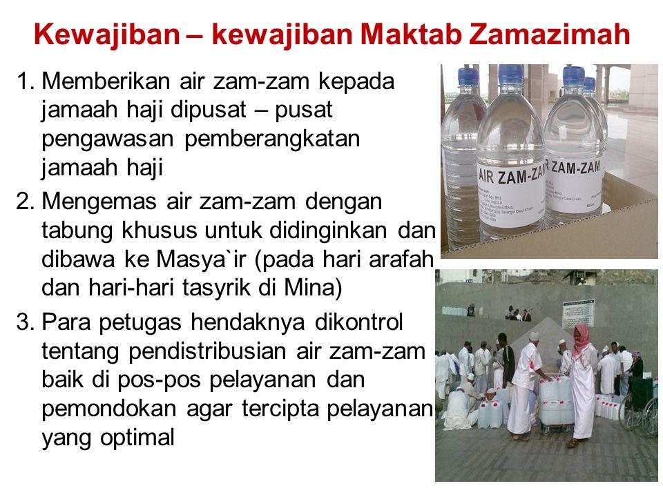 Kewajiban – kewajiban Maktab Zamazimah 1.Memberikan air zam-zam kepada jamaah haji dipusat – pusat pengawasan pemberangkatan jamaah haji 2.Mengemas ai