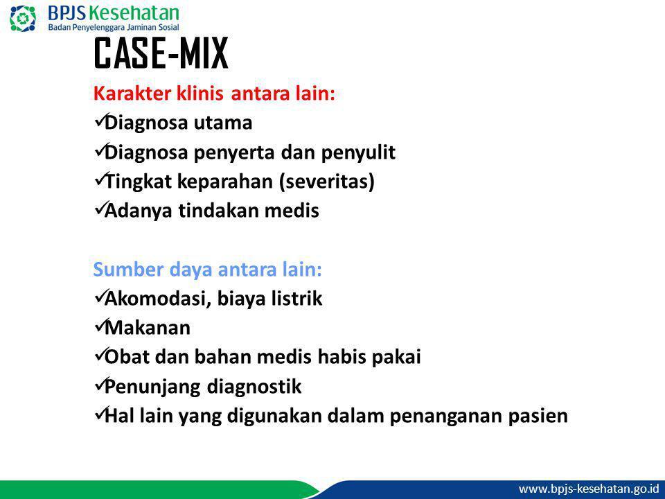 www.bpjs-kesehatan.go.id CASE-MIX Karakter klinis antara lain:  Diagnosa utama  Diagnosa penyerta dan penyulit  Tingkat keparahan (severitas)  Ada