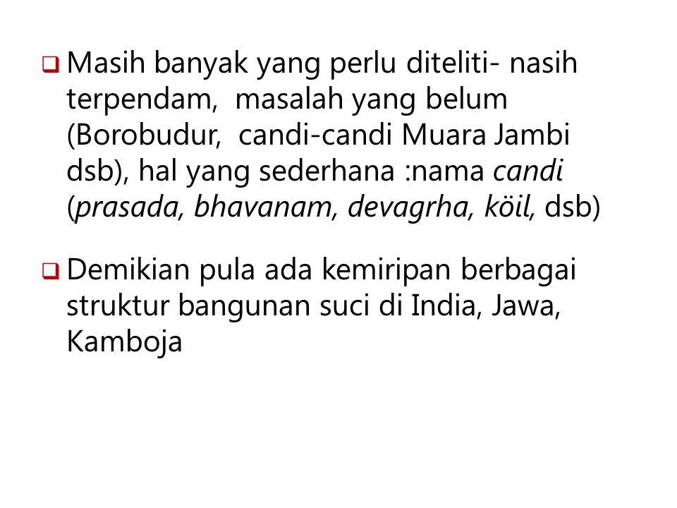  Masih banyak yang perlu diteliti- nasih terpendam, masalah yang belum (Borobudur, candi-candi Muara Jambi dsb), hal yang sederhana :nama candi (pras