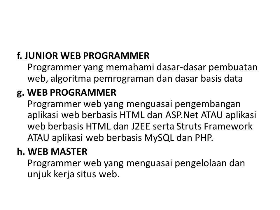 f. JUNIOR WEB PROGRAMMER Programmer yang memahami dasar-dasar pembuatan web, algoritma pemrograman dan dasar basis data g. WEB PROGRAMMER Programmer w