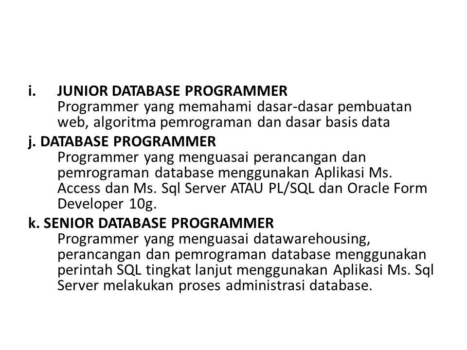 i.JUNIOR DATABASE PROGRAMMER Programmer yang memahami dasar-dasar pembuatan web, algoritma pemrograman dan dasar basis data j.