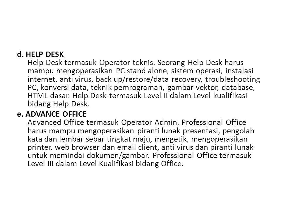 d.HELP DESK Help Desk termasuk Operator teknis.
