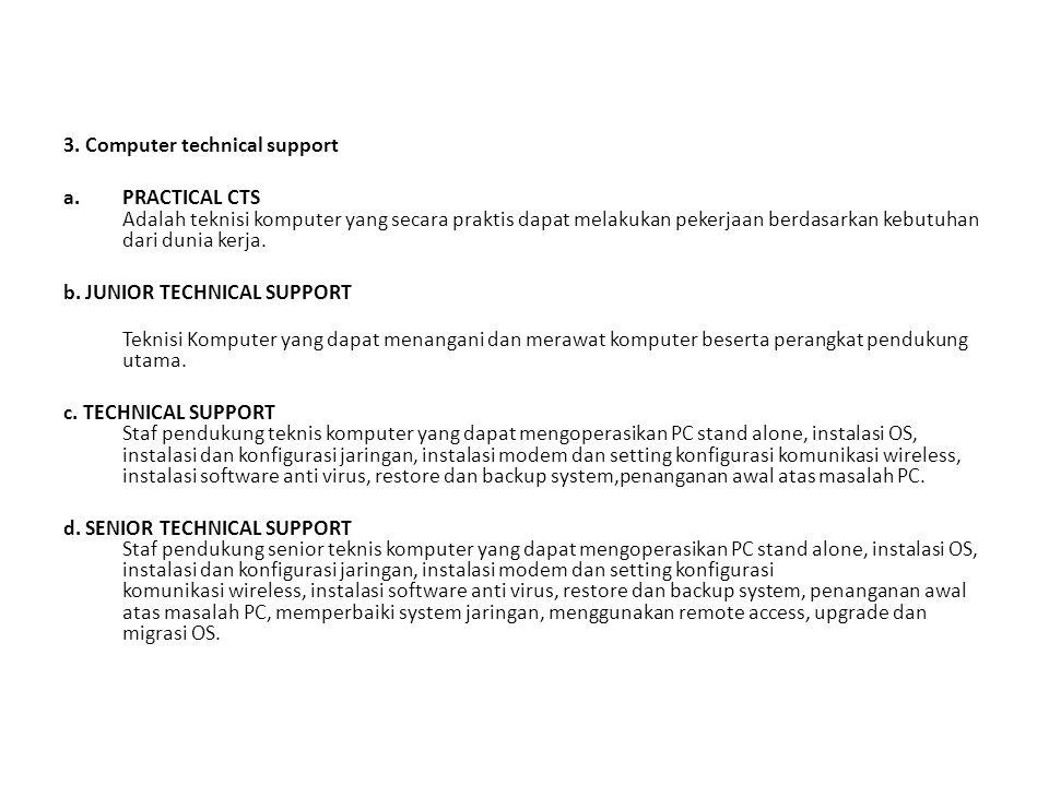 3. Computer technical support a.PRACTICAL CTS Adalah teknisi komputer yang secara praktis dapat melakukan pekerjaan berdasarkan kebutuhan dari dunia k