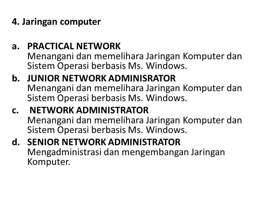 4. Jaringan computer a.PRACTICAL NETWORK Menangani dan memelihara Jaringan Komputer dan Sistem Operasi berbasis Ms. Windows. b.JUNIOR NETWORK ADMINISR