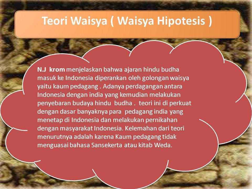 Teori Waisya ( Waisya Hipotesis ) N.J krom menjelaskan bahwa ajaran hindu budha masuk ke Indonesia diperankan oleh golongan waisya yaitu kaum pedagang.