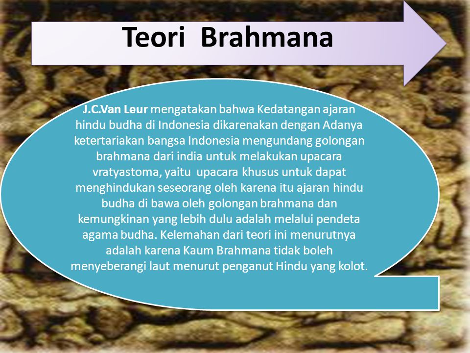 Teori Brahmana J.C.Van Leur mengatakan bahwa Kedatangan ajaran hindu budha di Indonesia dikarenakan dengan Adanya ketertariakan bangsa Indonesia mengundang golongan brahmana dari india untuk melakukan upacara vratyastoma, yaitu upacara khusus untuk dapat menghindukan seseorang oleh karena itu ajaran hindu budha di bawa oleh golongan brahmana dan kemungkinan yang lebih dulu adalah melalui pendeta agama budha.