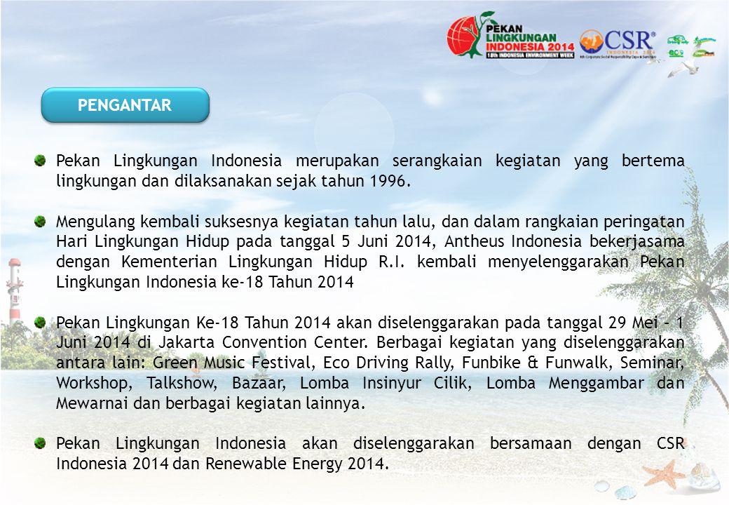Pekan Lingkungan Indonesia merupakan serangkaian kegiatan yang bertema lingkungan dan dilaksanakan sejak tahun 1996. Mengulang kembali suksesnya kegia